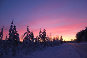 Sky Colours Magical Pink Purple Yellow Swedish Lapland