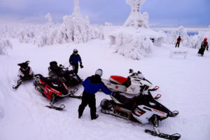 Snowmobiling Swedish Lapland Snow Cold